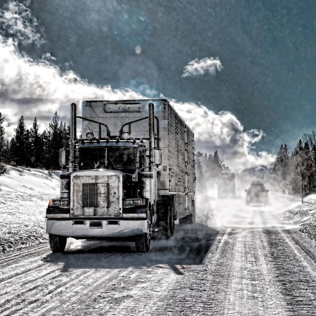 """Semi-trailer Tuck On Icy Road"" stock image"