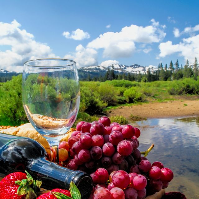 """Strawberries, Grapes And Red Wine"" stock image"