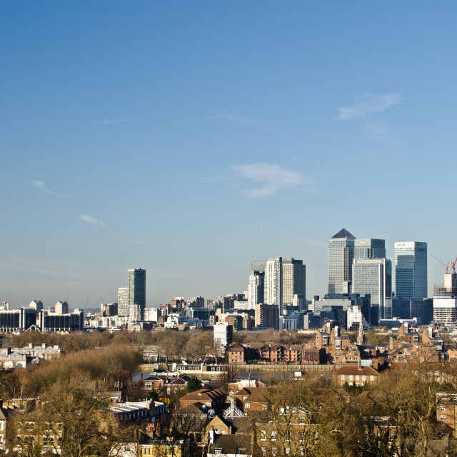 """""""Canary wharf as seen from Greenwich"""" stock image"""