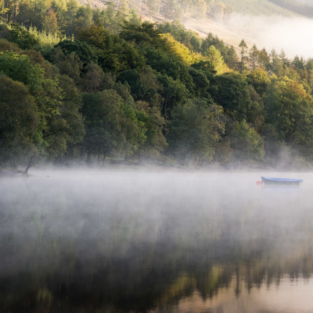 """Misty morning, Loch Voil"" stock image"