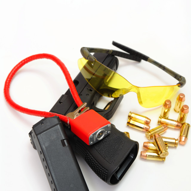 """""""Gun, Cartridges And Safty Accessories"""" stock image"""