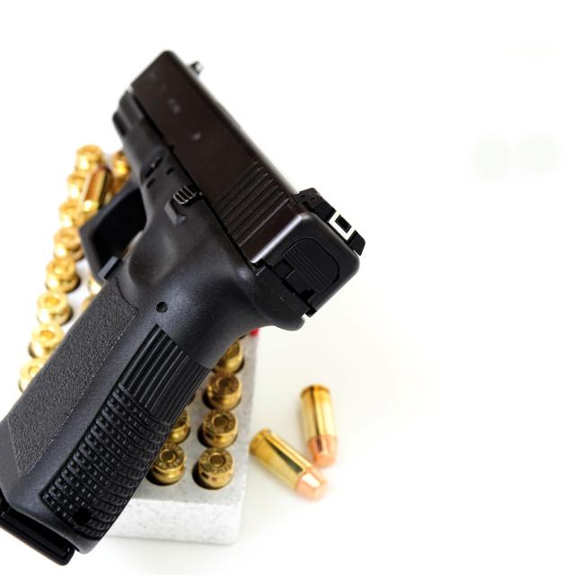 """40 Caliber Handgun And Ammunition"" stock image"