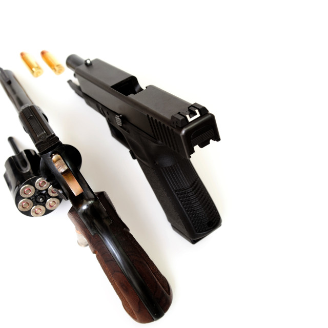 """Revolver And Pistol"" stock image"
