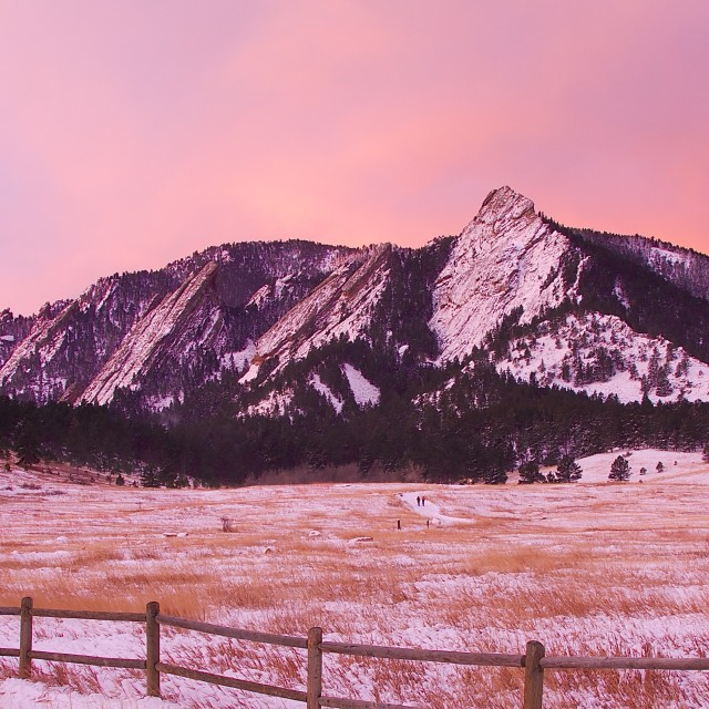 """Flatirons Winter Sunrise"" stock image"