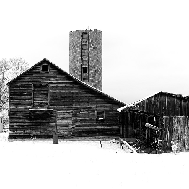 """Winter Barn"" stock image"