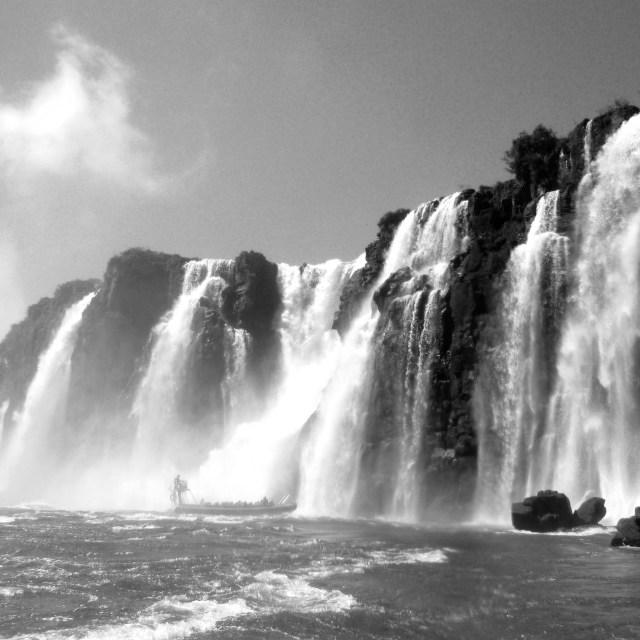 """""""Boat entering Iguazu falls"""" stock image"""