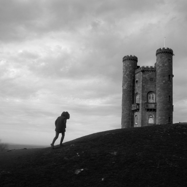 """Lone climber at Broadway Tower"" stock image"