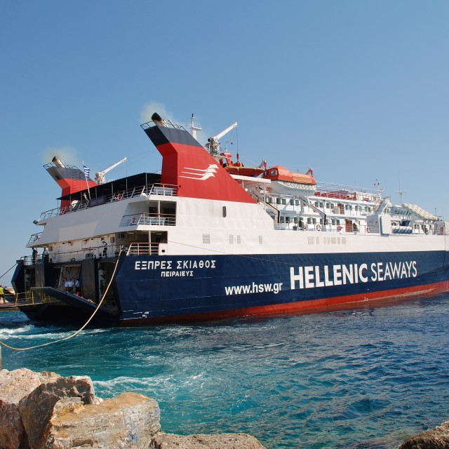 """Express Skiathos ferry, Alonissos"" stock image"