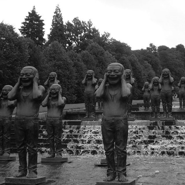 """Statues at Chatsworth House cascades"" stock image"