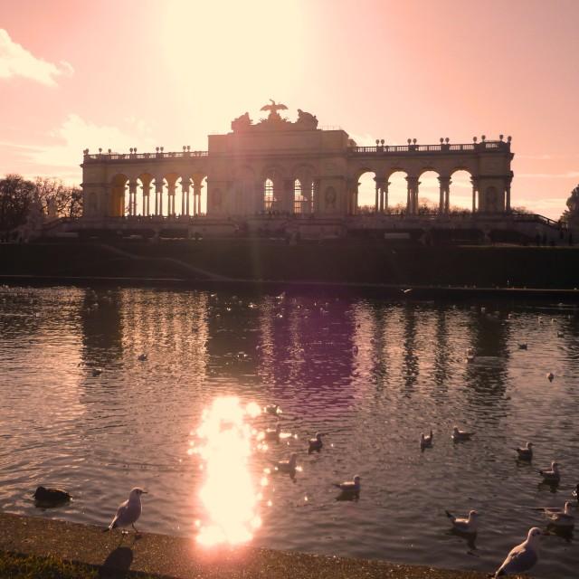"""Sunset at Schonbrunn Palace, Vienna"" stock image"