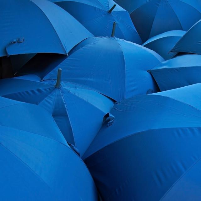 """""""Blue umbrellas"""" stock image"""