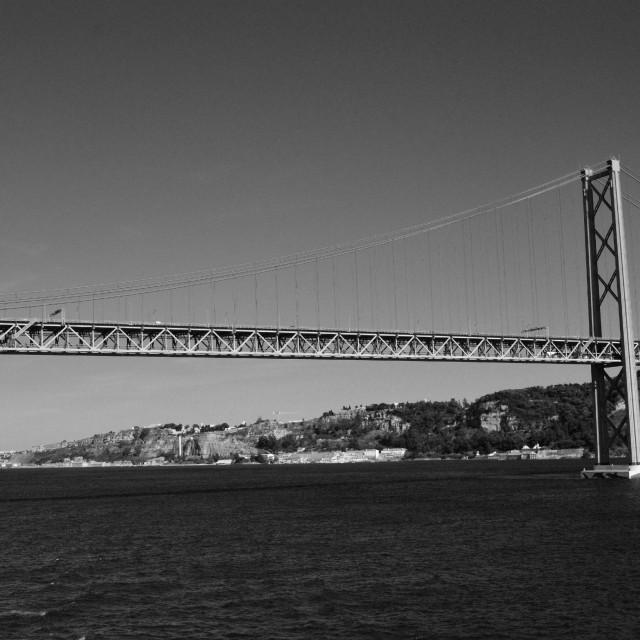 """Ponte 25 de Abril, black and white"" stock image"
