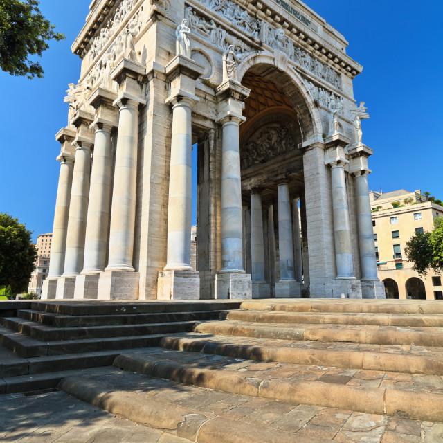 """""""arc of triumph in Piazza Della Vittoria"""" stock image"""