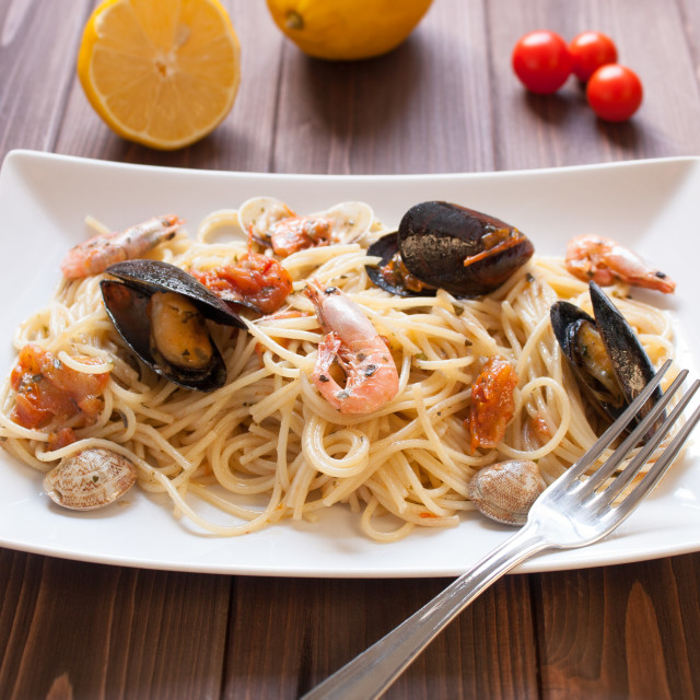 """Spaghetti with clams, crayfish and shrimp"" stock image"