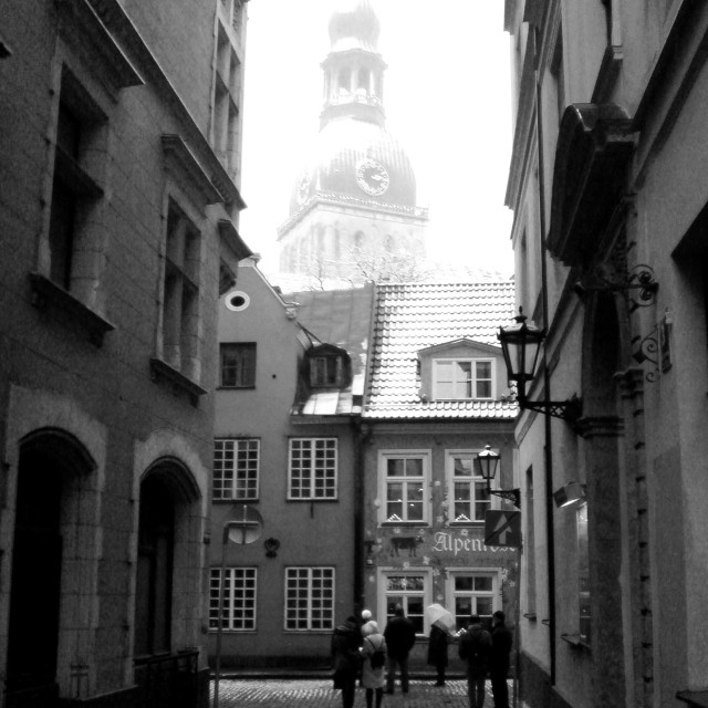 """Winter street scene, Riga"" stock image"