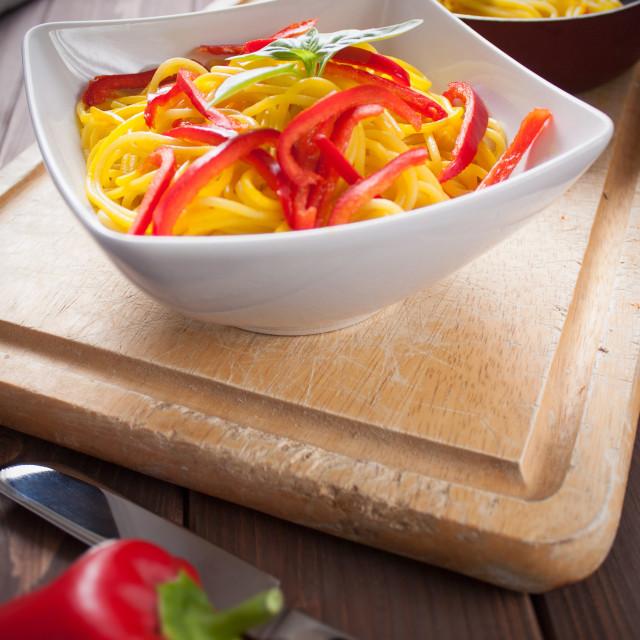 """""""Spaghetti con zafferano e peperone - Spaghetti with saffron and"""" stock image"""