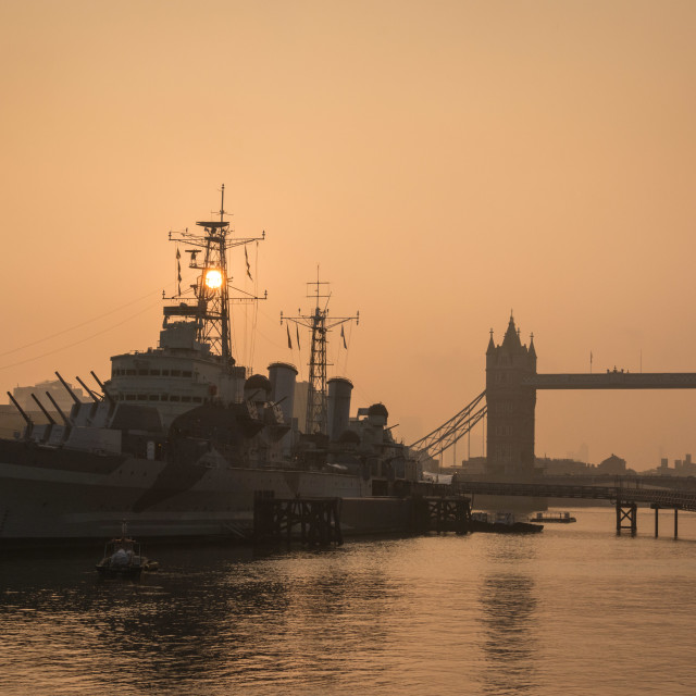 """HMS Belfast and Tower Bridge, morning."" stock image"