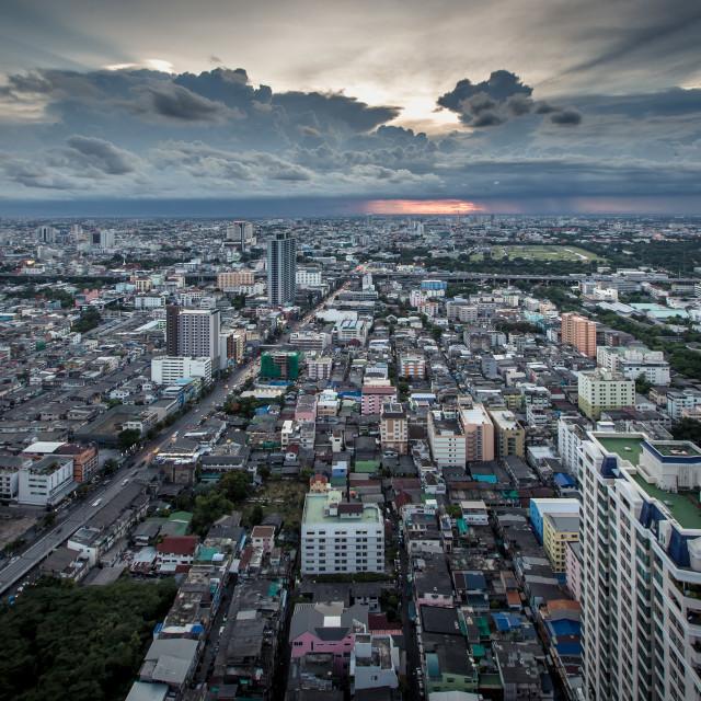 """Bangkok Cityscape with Dramatic Sky , Thailand"" stock image"
