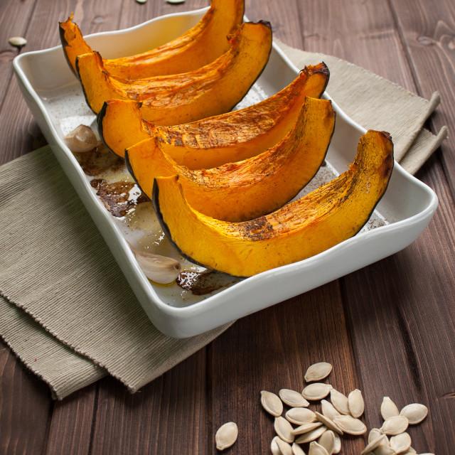 """Pumpkin slice baked"" stock image"