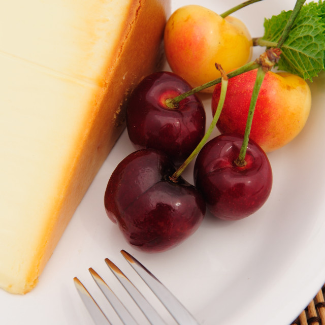 """Cherries And Cheese Cake"" stock image"
