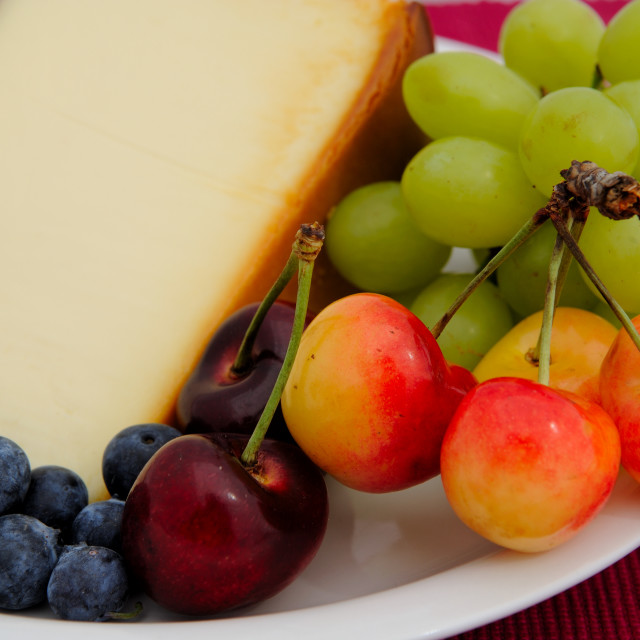"""Cheese Cake With Fresh Fruit"" stock image"