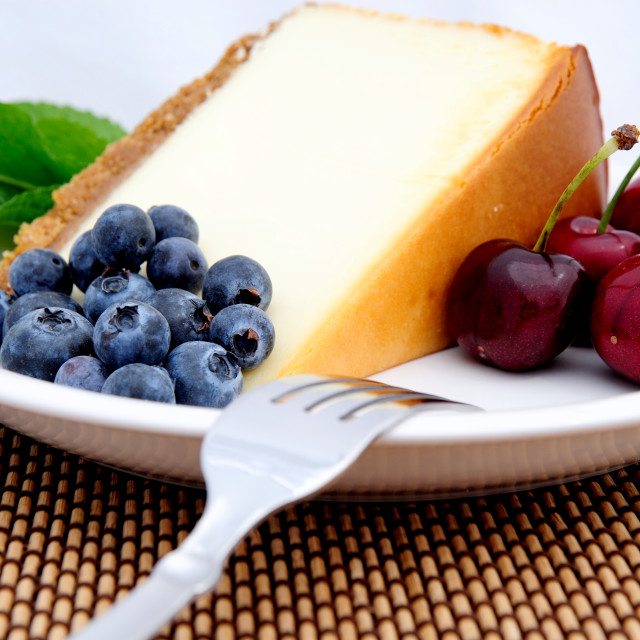 """Cheese Cake, Cherries And Blueberries"" stock image"