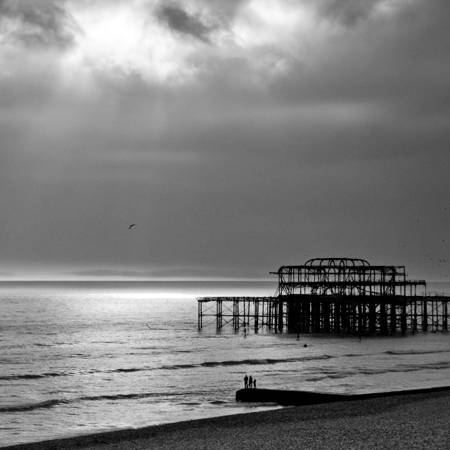 """""""Brighton West Pier: light and silhouettes"""" stock image"""