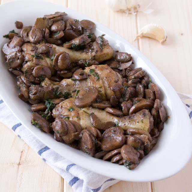 """""""Chicken with fungus"""" stock image"""