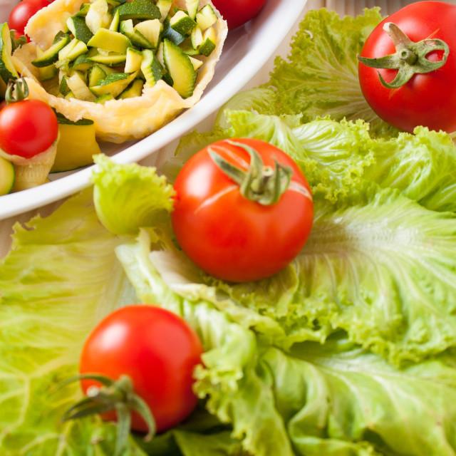 """Basket of Parmesan with veggies"" stock image"