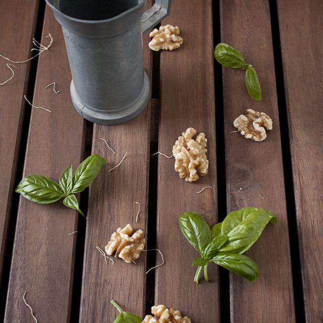 """Carafe and walnuts"" stock image"