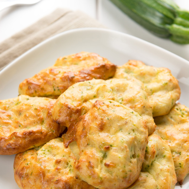 """Fritters of zucchinis and ricotta cheese"" stock image"