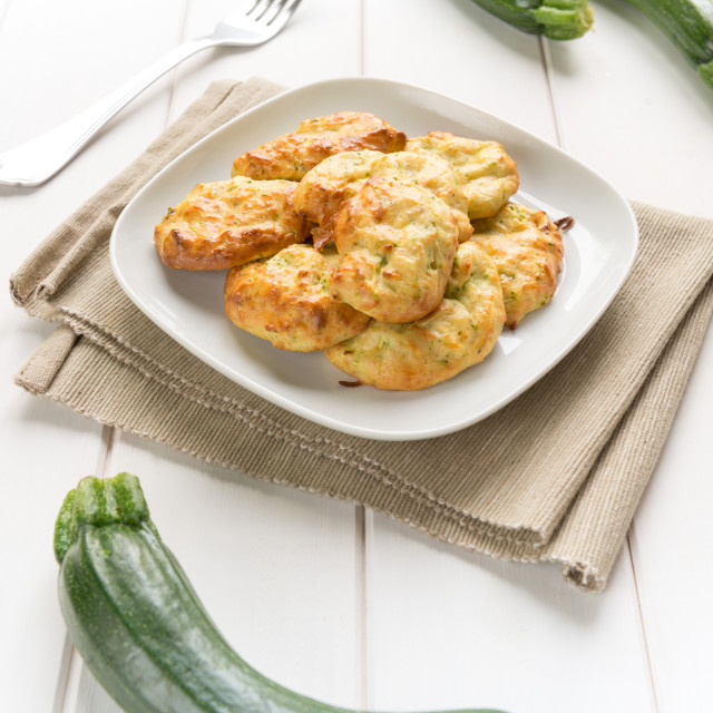 """""""Fritters of zucchinis and ricotta cheese"""" stock image"""