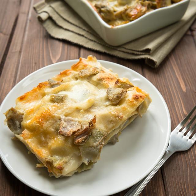 """Lasagna with artichokes"" stock image"