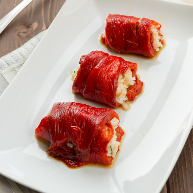 """""""Capsicum and rice roulade"""" stock image"""