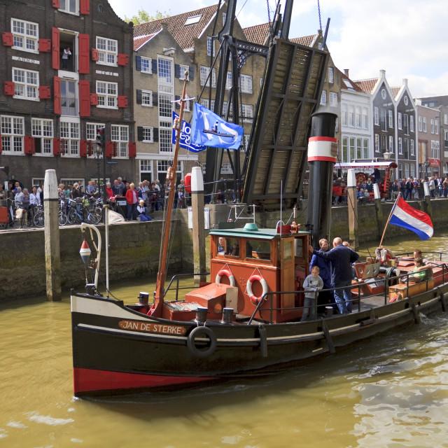 """""""Jan de Sterke leaving harbor"""" stock image"""
