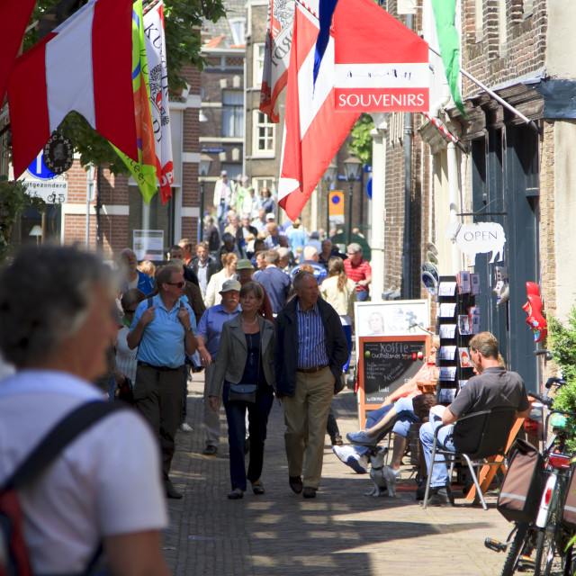 """""""Shopping on Vleeshouwers Street"""" stock image"""
