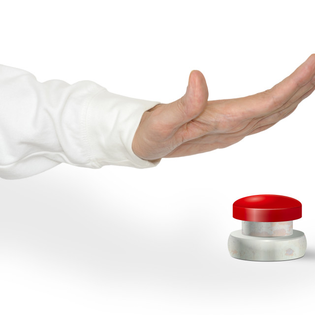 """""""Pushing the Button"""" stock image"""