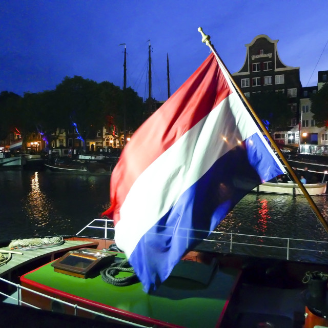 """Dutch flag flying"" stock image"