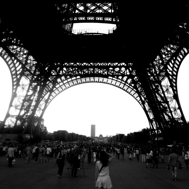 """""""Under the Eiffel Tower"""" stock image"""