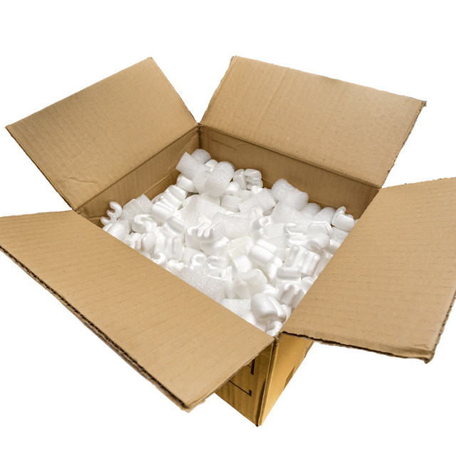"""A Cardboard Box with Fill Packaging Peanuts"" stock image"