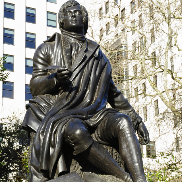 """Robert Burns Statue, London"" stock image"