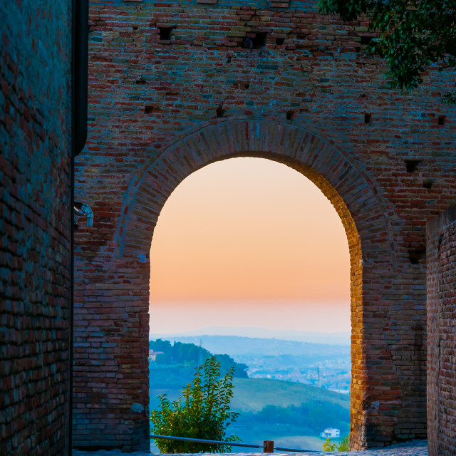 """Sunset Through an Arch"" stock image"