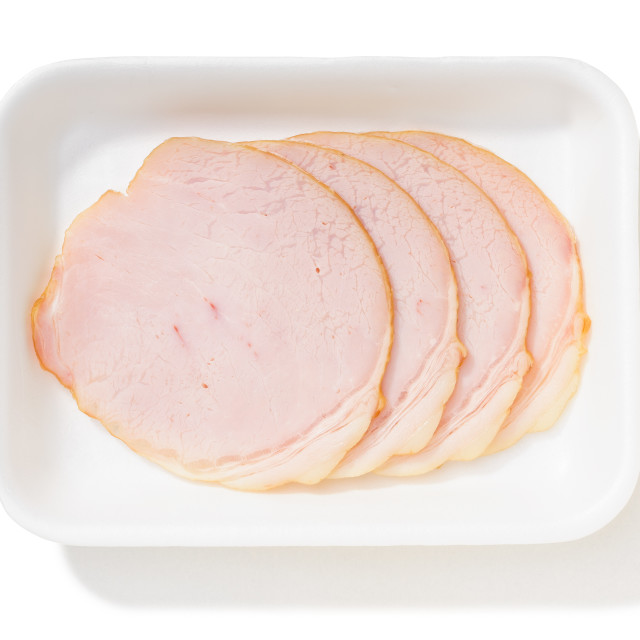 """Slices of Roll Ham with Rind"" stock image"