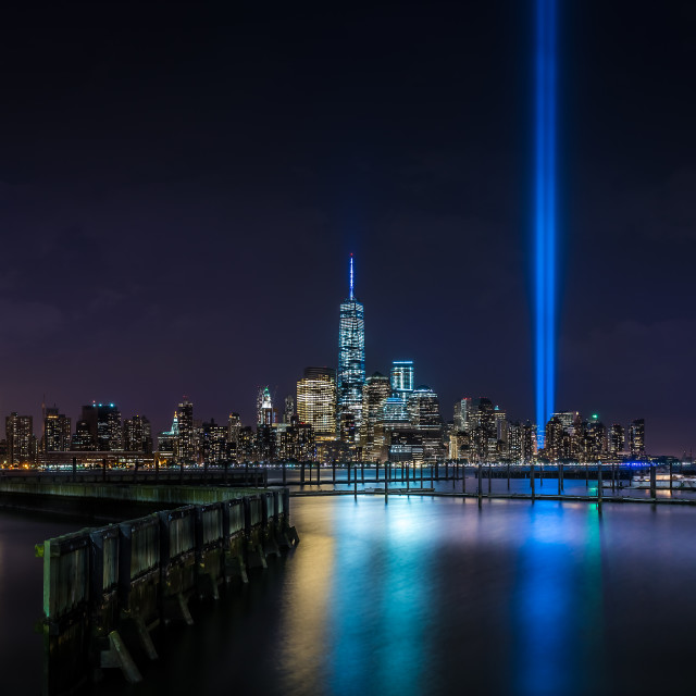 """New York City Tribute In Lights"" stock image"