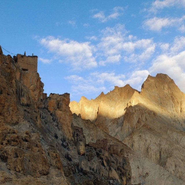 """Castle built into the top of a peak - Ladakh"" stock image"