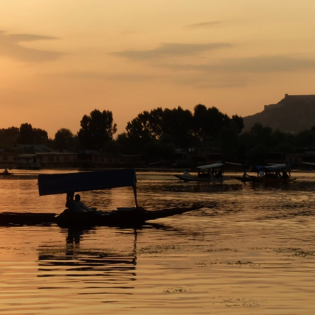 """Sunset on Dal lake Srinigar"" stock image"