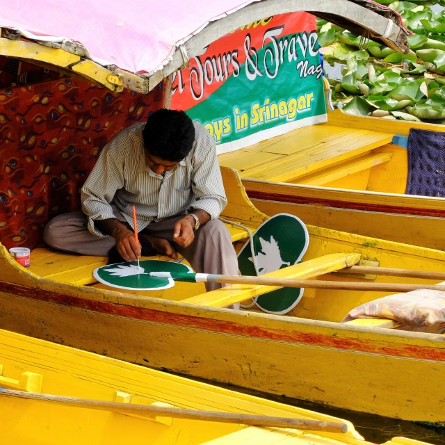 """Painting Paddle -Dal lake Srinigar"" stock image"