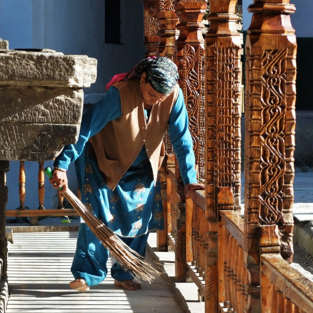 """Woman Cleaning Temple -Minali India"" stock image"
