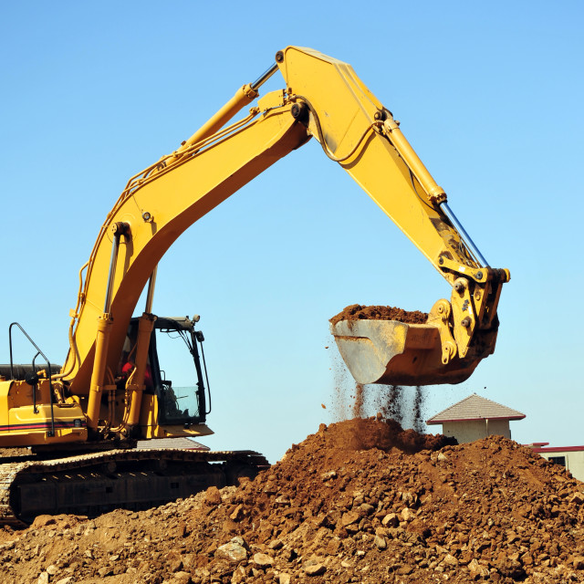 """Excavator And Dirt"" stock image"