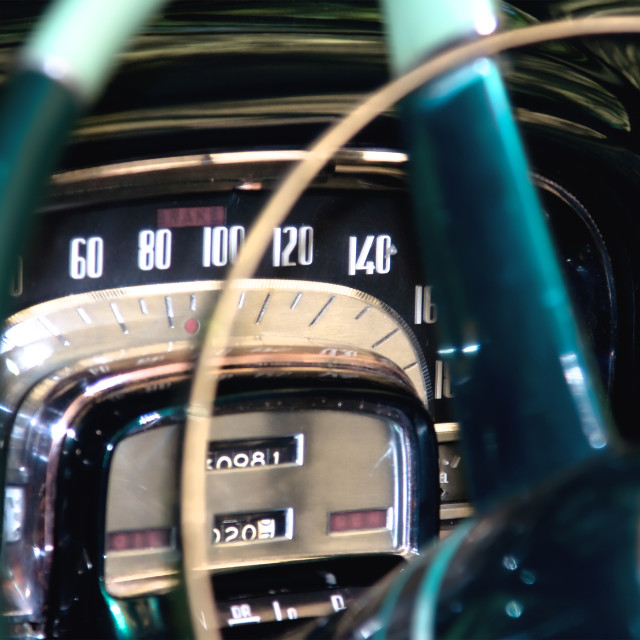 """Classic car dashboard detail , shallow DOF"" stock image"